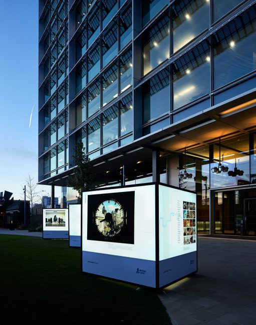 British Land Illuminated Cubes at Broadgate, Regents Place and Paddington Basin 2017